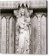 Sculpture Above North Entrance Of Westminster Abbey London Bw Acrylic Print