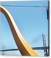 Sculpture By San Francisco Bay Bridge Acrylic Print