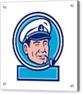 Sea Captain Smoking Pipe Circle Retro Acrylic Print