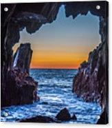 Sea Cave Sunset Acrylic Print