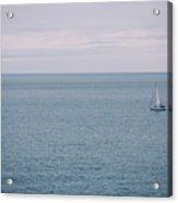 Sea Landscape With Alone Sailboat In Garda Acrylic Print