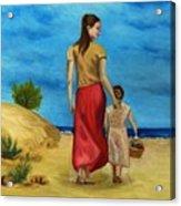 Sea Side Walk After Pino Acrylic Print by Kostas Koutsoukanidis