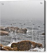Sea Spray In Fog Acrylic Print
