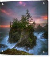 Sea Stack With Trees Of Oregon Coast Acrylic Print