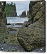 Sea Stacks And Boulders Washington State Acrylic Print