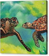Sea Turtles And Dolphins Acrylic Print by Susan Kubes