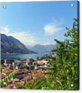 Sea View From Kotor Acrylic Print by Elizabeth Fontaine-Barr