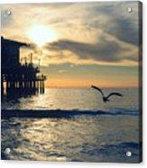 Seagull Pier Sunrise Seascape C2 Acrylic Print