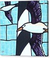 Seagulls And Lighthouse Acrylic Print