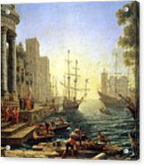 Seaport With The Embarkation Of Saint Ursula  Acrylic Print