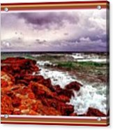 Seascape Scene On The Coast Of Cornwall L B With Alt. Decorative Ornate Printed Frame. Acrylic Print