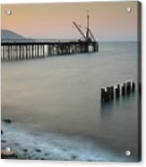 Seascape With Deserted Jetty During Sunset Acrylic Print