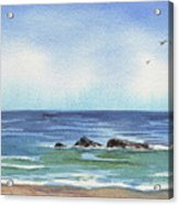Seascape With Three Rocks Acrylic Print