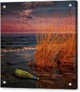 Seaside Bottle At Sunset Acrylic Print