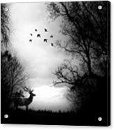 Seasons End Deer Geese Acrylic Print