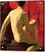 Seated Male Model Acrylic Print by William Etty