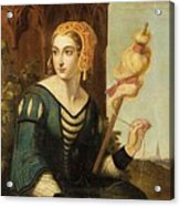 Seated Noble Lady With Distaff Acrylic Print