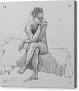 Seated Nude 2 Acrylic Print by Robert Bissett