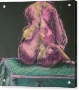 Seated Pink Nude Acrylic Print