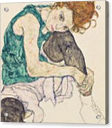 Seated Woman With Bent Knee Acrylic Print by Egon Schiele