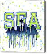 Seattle Watercolor 12th Man Art Painting Space Needle Go Seahawks Acrylic Print