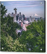 Seattle And Mt. Rainier Vertical Acrylic Print