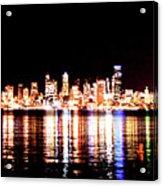 Seattle At Night - From Alki Beach Acrylic Print