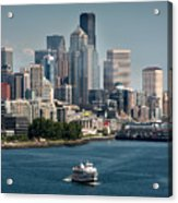 Seattle By Ferry Acrylic Print