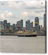 Seattle City Skyline Along Elliott Bay Acrylic Print