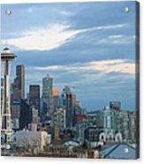 Seattle City Skyline At Dusk Panorama Acrylic Print