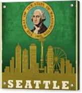 Seattle City Skyline State Flag Of Washington Art Poster Series 017 Acrylic Print