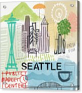 Seattle Cityscape- Art By Linda Woods Acrylic Print
