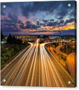 Seattle Freeway Light Trails Acrylic Print