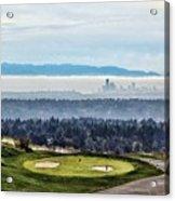 Seattle In The Fog Acrylic Print