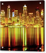 Seattle Panorama Reflection In Elliot Bay Acrylic Print by Tim Rayburn