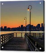 Seattle Skyline From The Alki Beach Seacrest Park Acrylic Print by David Gn Photography