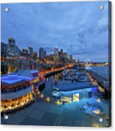 Seattle Skyline From The Waterfront At Blue Hour Acrylic Print