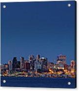 Seattle Skyline In Twilight With Clear Sky Acrylic Print
