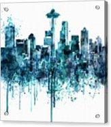 Seattle Skyline Monochrome Watercolor Acrylic Print