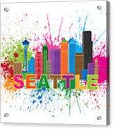 Seattle Skyline Paint Splatter Text Illustration Acrylic Print