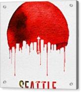 Seattle Skyline Red Acrylic Print