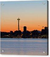 Seattle Skyline Silhouette At Sunrise Acrylic Print