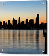 Seattle Skyline Silhouette At Sunrise From The Pier Acrylic Print
