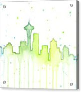 Seattle Skyline Watercolor  Acrylic Print