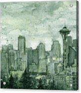 Seattle Skyline Watercolor Space Needle Acrylic Print