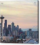 Seattle Skyline With Mount Rainier During Sunrise Panorama Acrylic Print