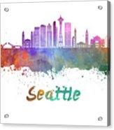 Seattle V2 Skyline In Watercolor Acrylic Print