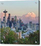 Seattle Washington City Skyline At Sunset Acrylic Print