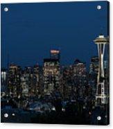 Seattle Washington Space Needle And City Skyline At Night Acrylic Print