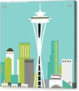 Seattle Washington Vertical Skyline - Teal Acrylic Print